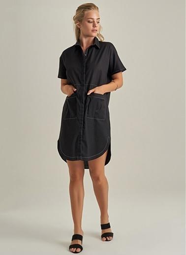 NGSTYLE Gömlek Elbise Siyah